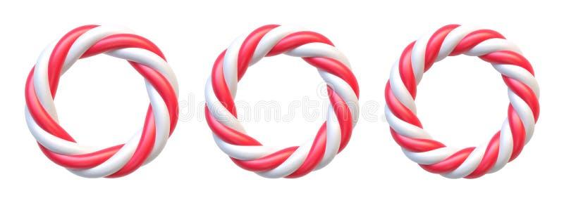 套棒棒糖圈子框架 与拷贝空间的漩涡硬糖圆的边界 皇族释放例证