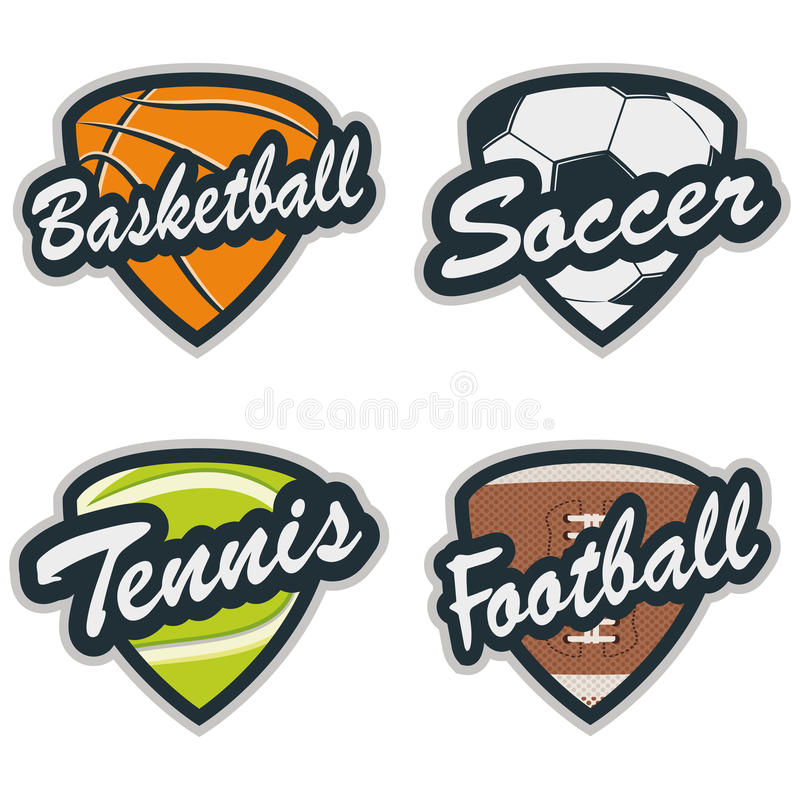 套棒球、网球、足球、篮球和橄榄球徽章 向量例证