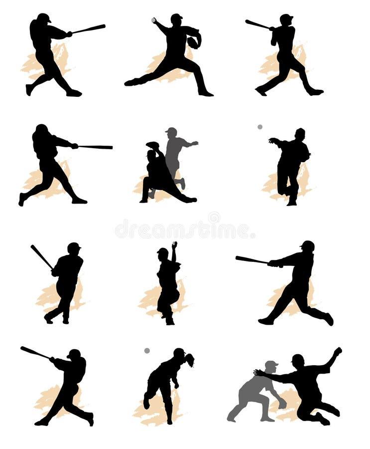 套棒球剪影 向量例证