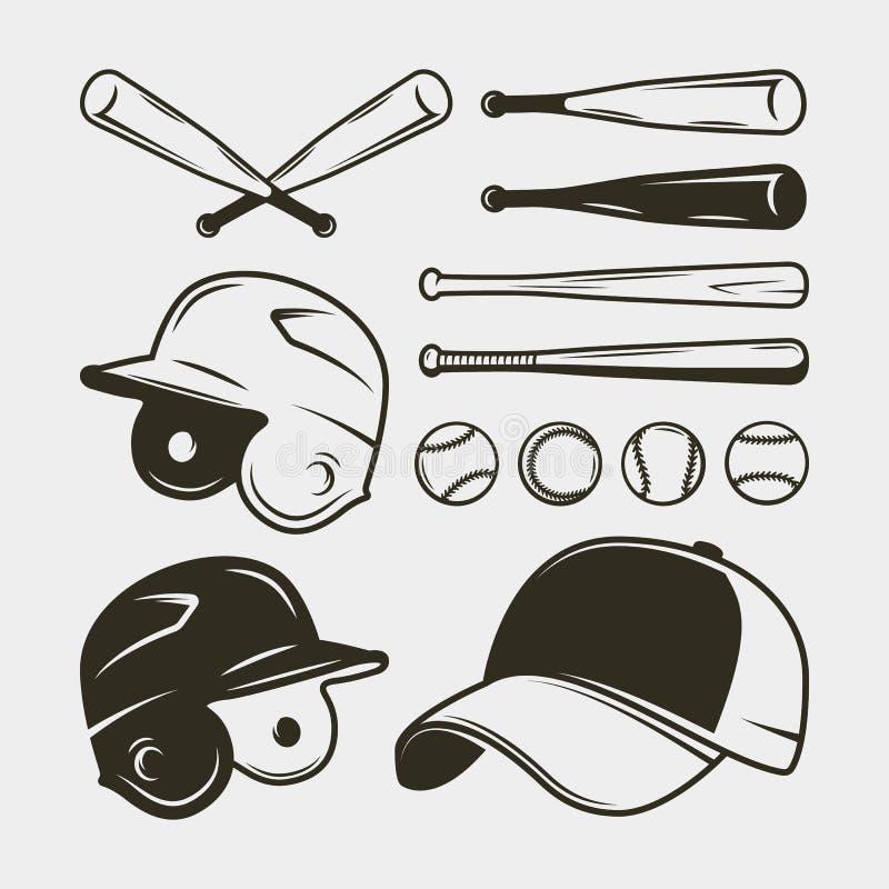 套棒球设备和齿轮 棒,盔甲,盖帽,球 也corel凹道例证向量 库存例证