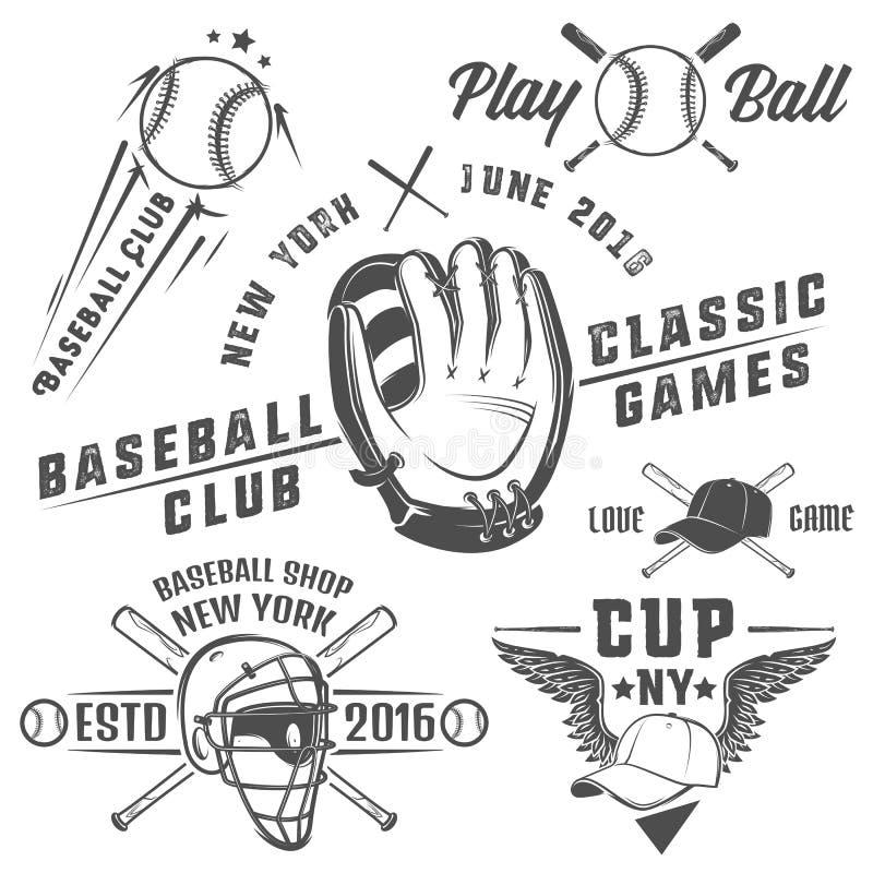 套棒球象征和商标 向量例证