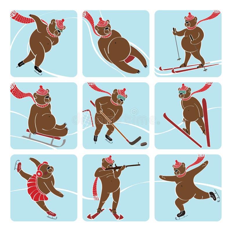 套棕熊演奏冬季体育。象 向量例证
