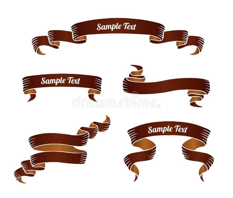 套棕色葡萄酒纸卷丝带横幅 也corel凹道例证向量 向量例证