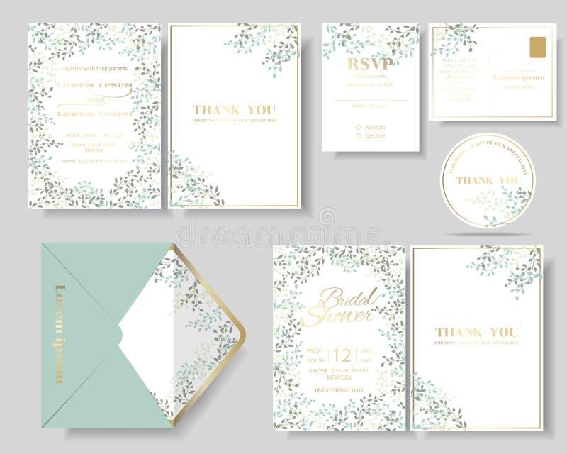 套植物的叶子缠绕婚礼邀请卡片 绿色和薄荷的颜色口气 皇族释放例证