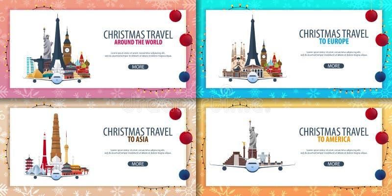 套横幅圣诞节旅行欧洲 亚洲,美国,世界 小船雪和岩石 也corel凹道例证向量 皇族释放例证