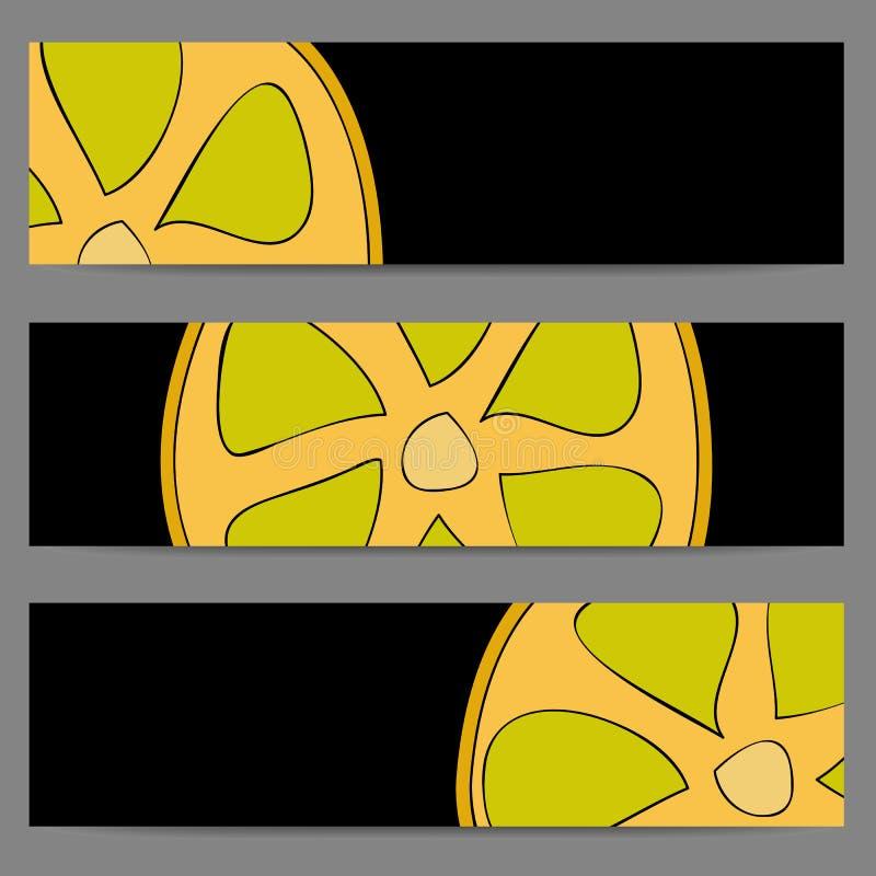 套横幅用乱画柠檬 库存例证