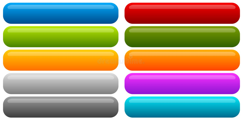 套横幅,按钮背景 水平的长方形按钮 向量例证