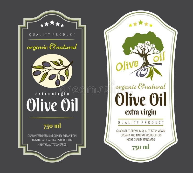 套橄榄油的标签 橄榄油包装的典雅的设计 皇族释放例证