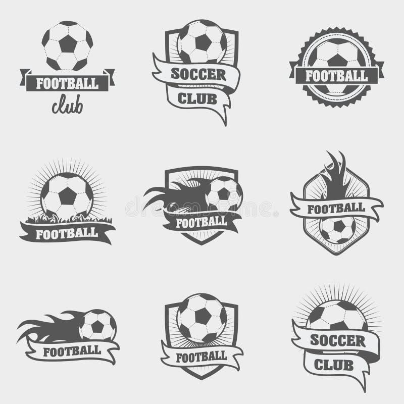 套橄榄球或足球标签、徽章和商标 皇族释放例证