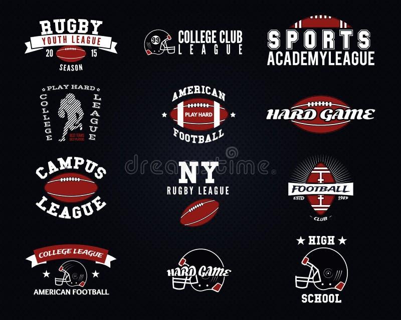 套橄榄球,学院标签,商标 向量例证
