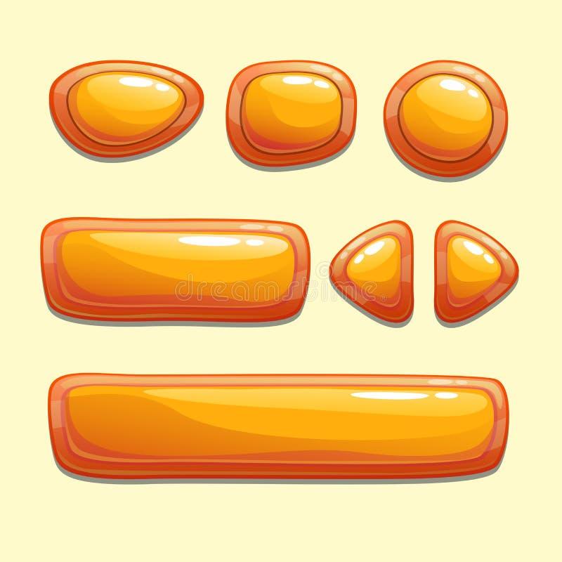套橙色动画片按钮 库存例证