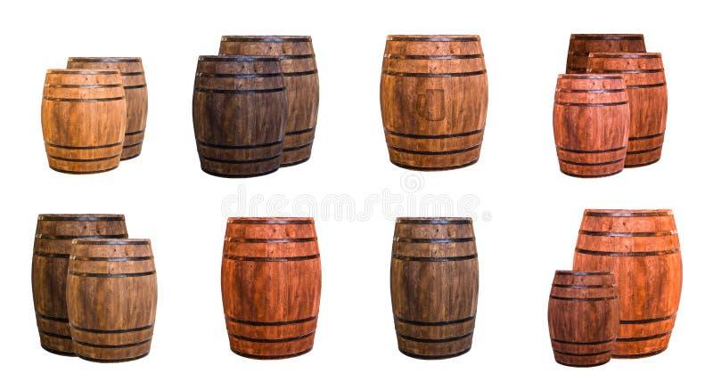 套橡木滚磨浅褐色的被盖印的商标啤酒杯 图库摄影