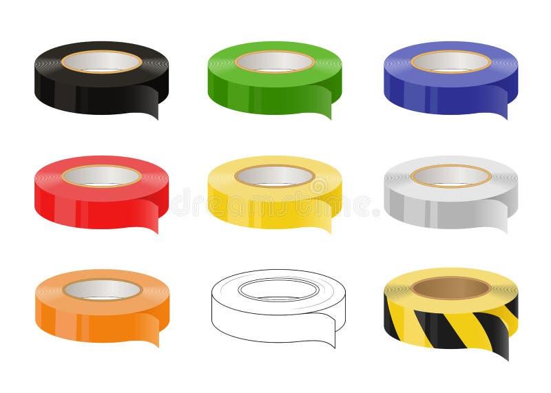 套橡皮膏:黑,绿色,蓝色,红色,黄色,灰色,橙色,黑和黄色小心磁带 按钮查出的现有量例证推进s启动妇女 向量 皇族释放例证