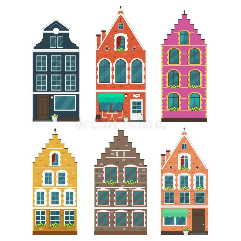 套欧洲五颜六色的老房子 皇族释放例证