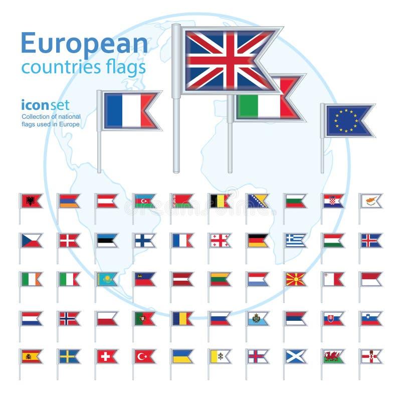 套欧洲旗子,传染媒介例证 皇族释放例证