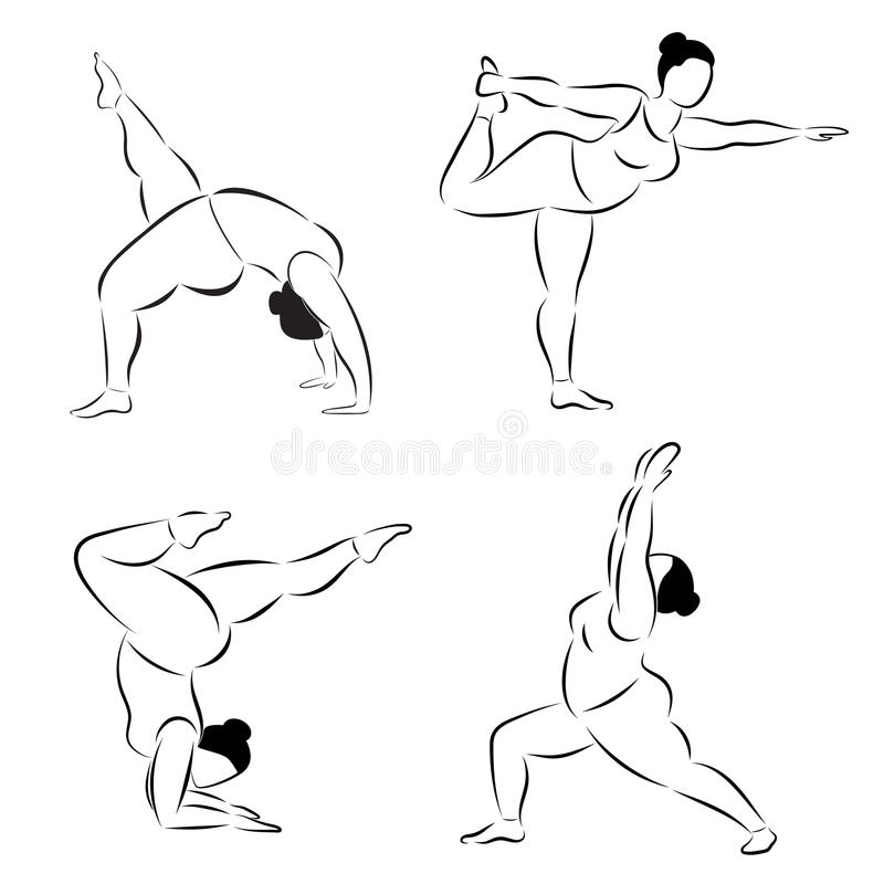 套正做瑜伽健身的大小灵活的运动的妇女 皇族释放例证