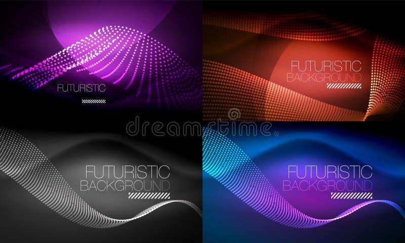 套氖发光的波浪和线,发光的光线影响数字式techno行动背景 暗区的汇集 库存例证