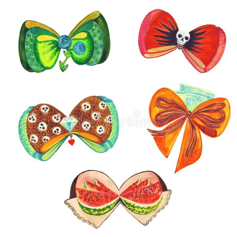 套水彩与头骨的蝴蝶结丝带,蓝莓,鞋带,西瓜元素 向量例证