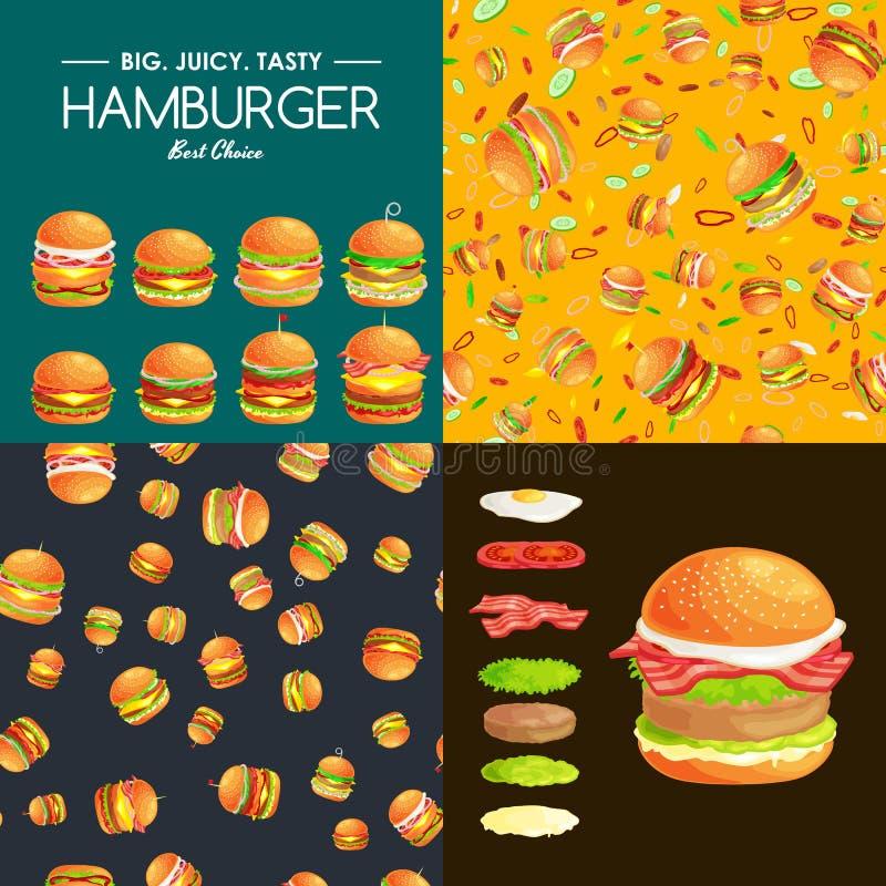 套汉堡烤了牛肉和新鲜蔬菜穿戴用快餐的,美国汉堡包快餐烤肉调味汁小圆面包 向量例证