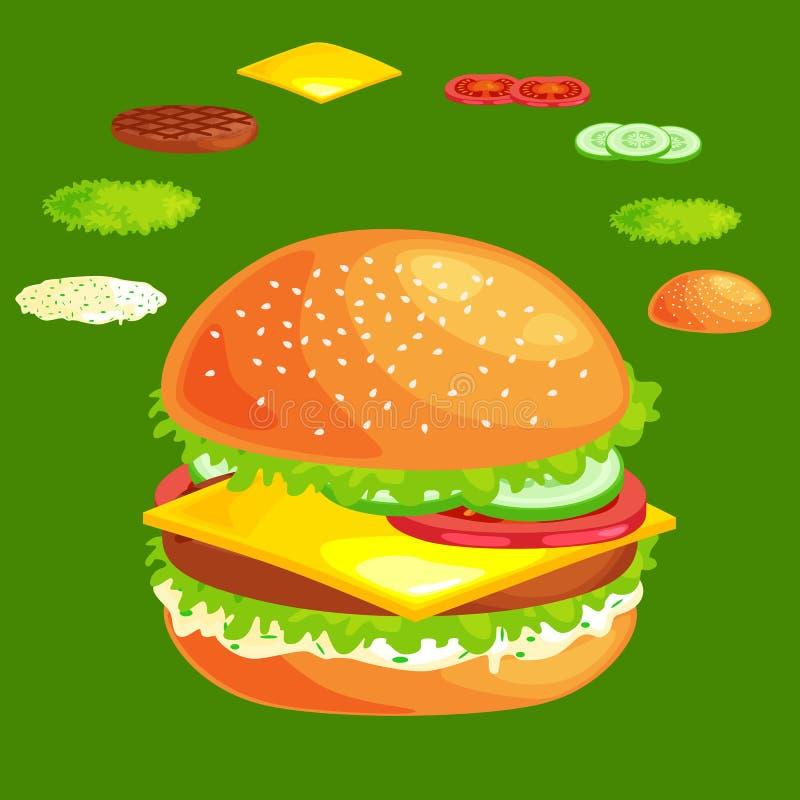 套汉堡烤牛肉菜穿戴了与调味汁小圆面包快餐,汉堡包快餐菜单烤肉肉与 库存例证