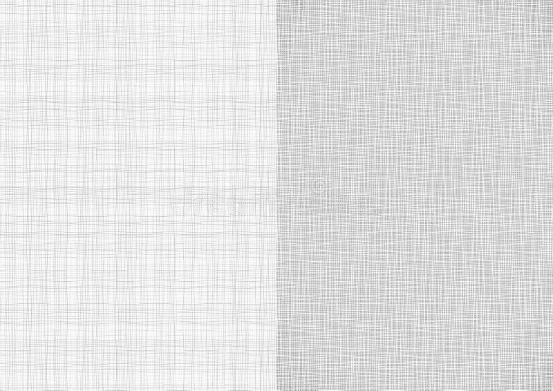 套浅灰色的空白线路织品螺纹帆布粗麻布纹理在A4纸张大小背景中 向量例证