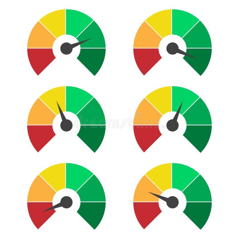 套测量的象 车速表或对估计的米签署infographic测量仪元素 免版税库存照片