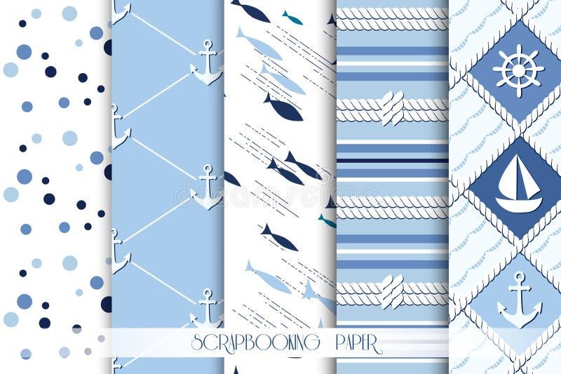 套海和在蓝色颜色的船舶样式 向量例证