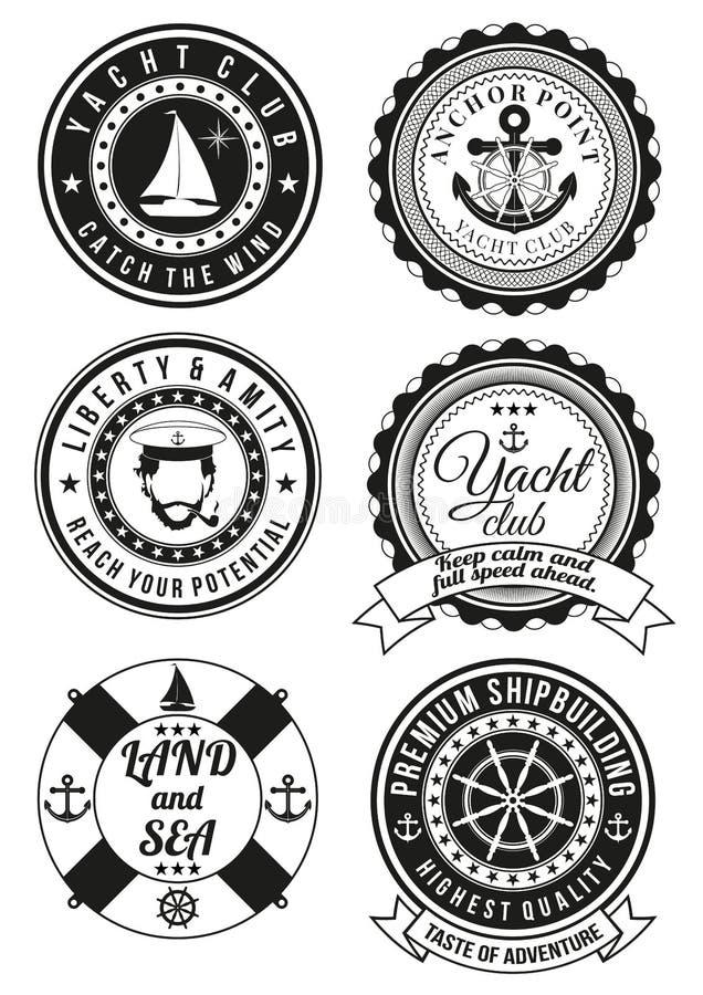 套海和游艇俱乐部的圆的徽章 库存例证