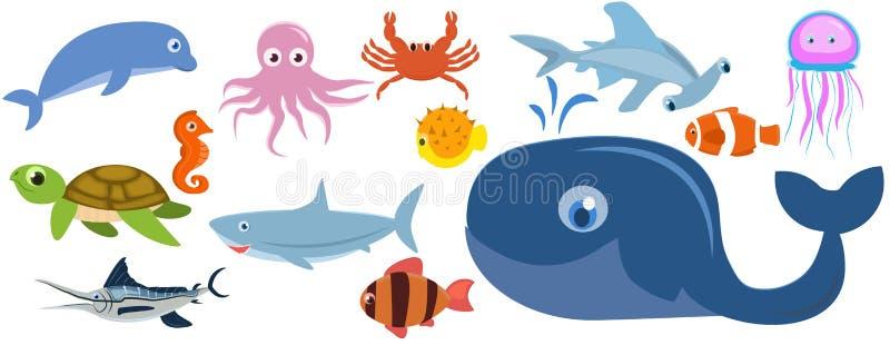 套海洋动物 也corel凹道例证向量 向量例证
