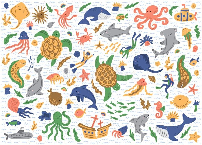 套海洋动物 背景查出的白色 逗人喜爱的幼稚例证 向量空白光滑的标签 免版税图库摄影