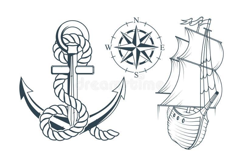 套海洋设计的不同的船锚 一个船` s船锚的例证有绳索和船的 皇族释放例证