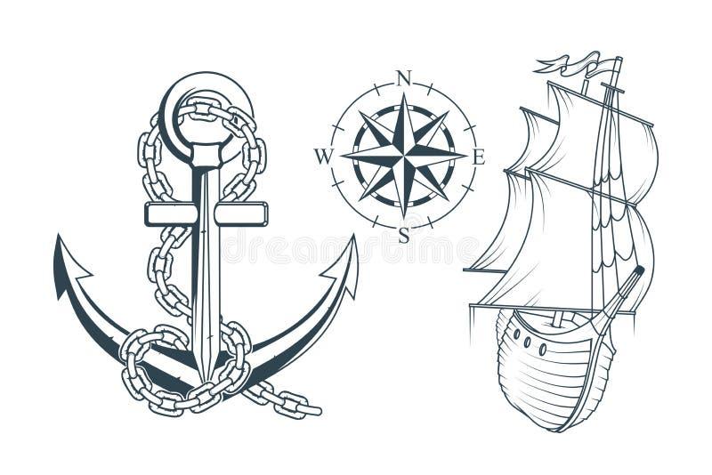 套海洋设计的不同的船锚 一个船` s船锚的例证有绳索和船的 向量例证