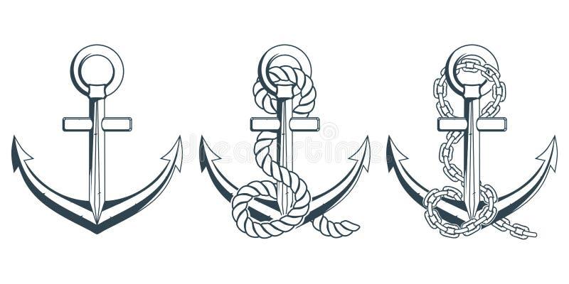 套海洋设计的不同的船锚 一个船` s船锚的例证有绳索的 向量例证