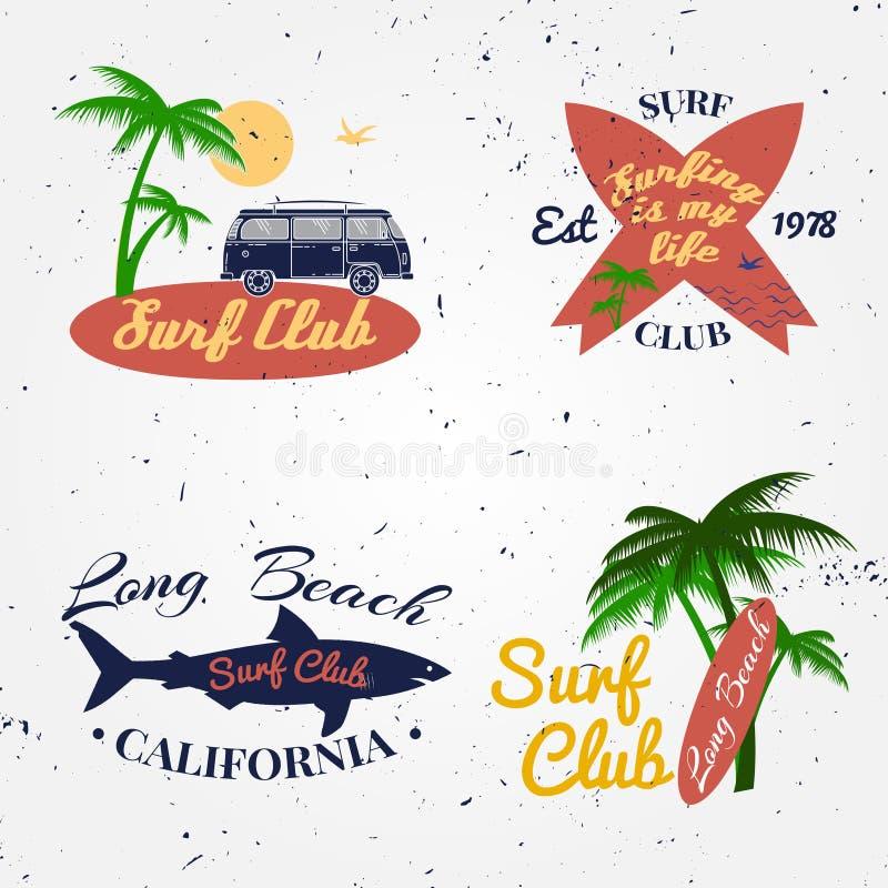 套海浪俱乐部概念冲浪减速火箭的徽章的传染媒介夏天 向量例证