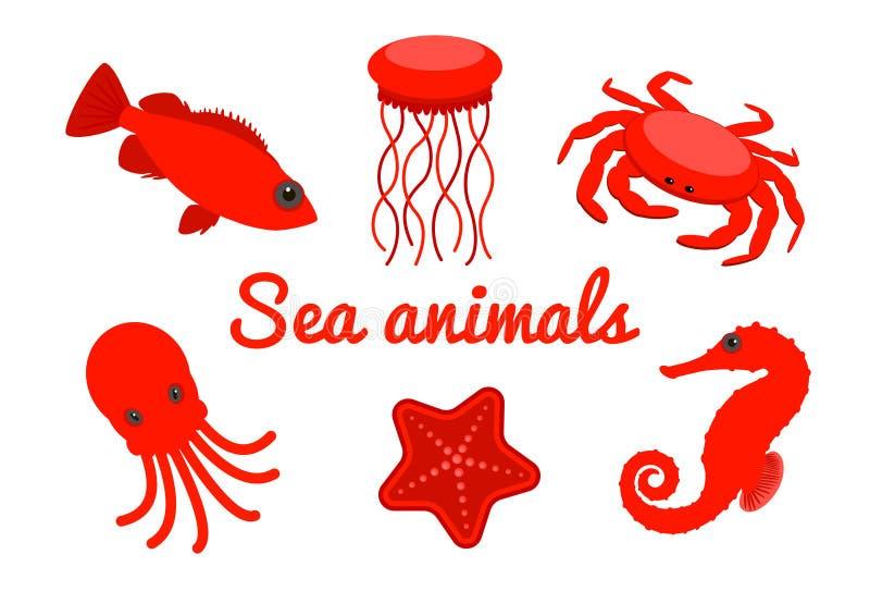 套海生物 在白色背景隔绝的红色动画片海洋动物 向量 向量例证