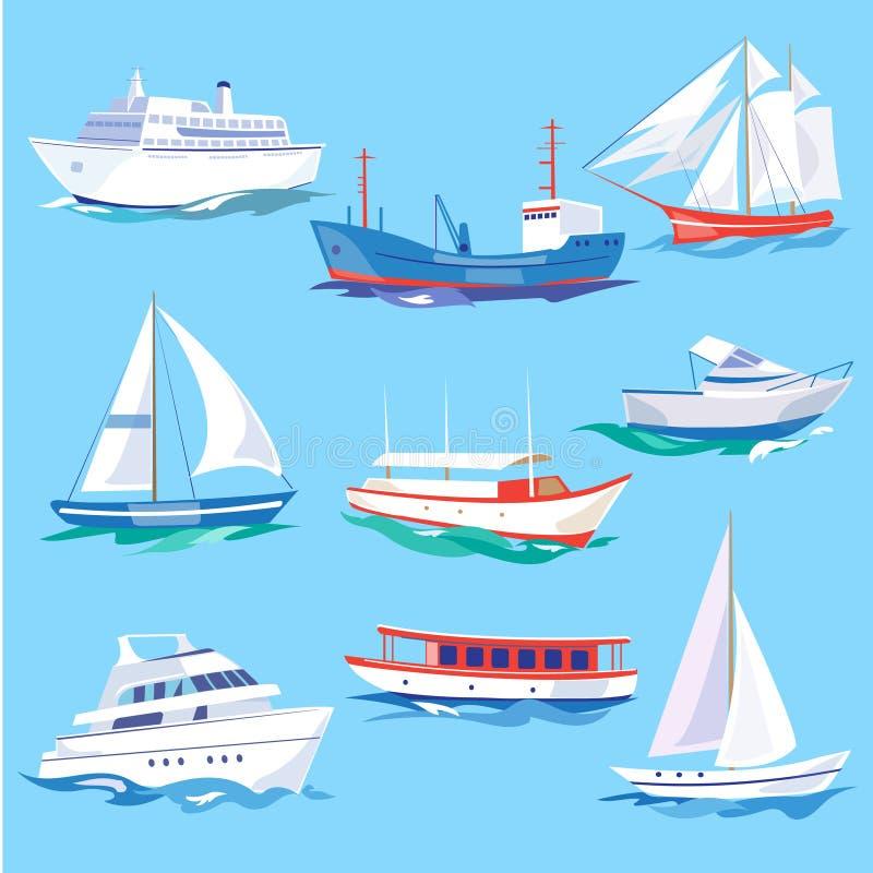 套海运输水支架和海上运输 向量例证