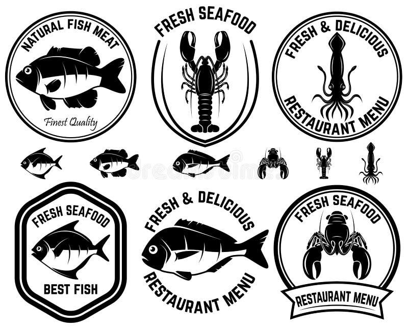 套海鲜标签 鱼,乌贼,龙虾 设计商标的,标签,象征,标志元素 皇族释放例证