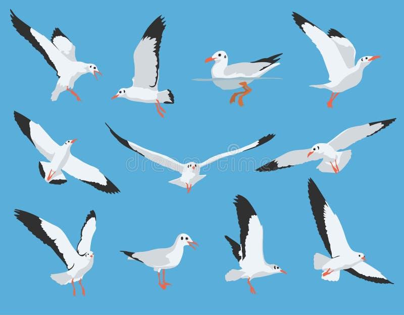海鸟和锚_套海鸟和海鸥 向量例证. 插画 包括有 和平, 海洋, 向量, ,并且 ...