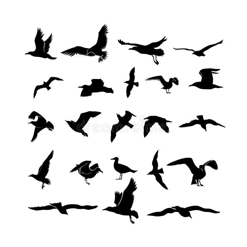 套海鸥,飞行黑剪影的海鸟 图画要素自然徒手画风格化 画的自由飞行组图标 自由印刷品艺术 传染媒介illu 向量例证