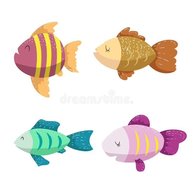 套海,海洋动物 不同的颜色回归线鱼 库存例证