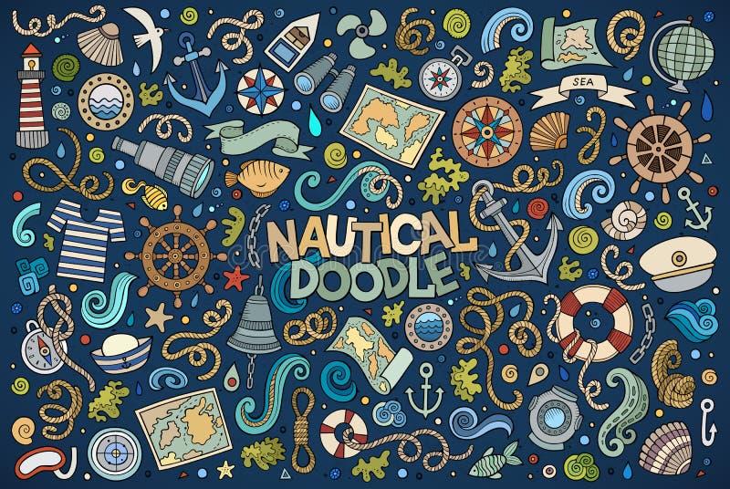 套海洋,船舶对象和标志 向量例证