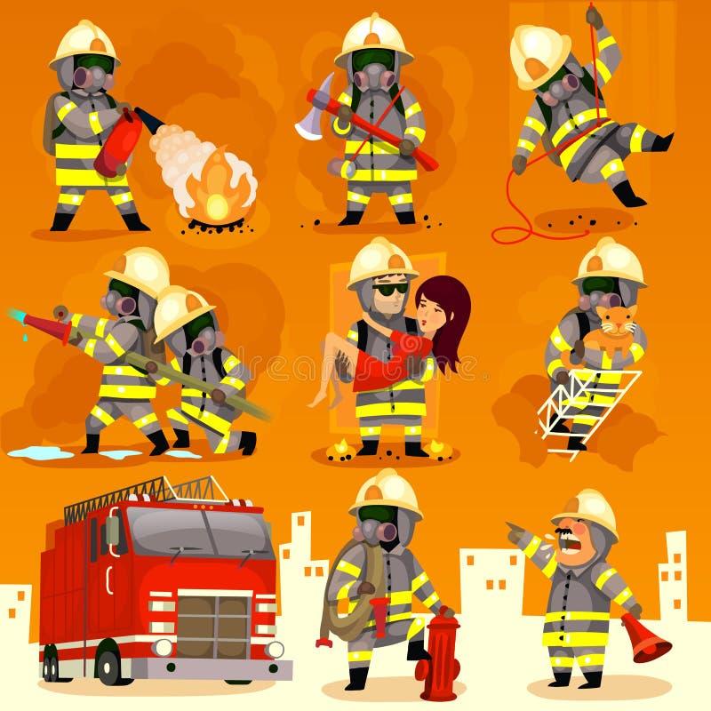 套消防员在工作 向量例证
