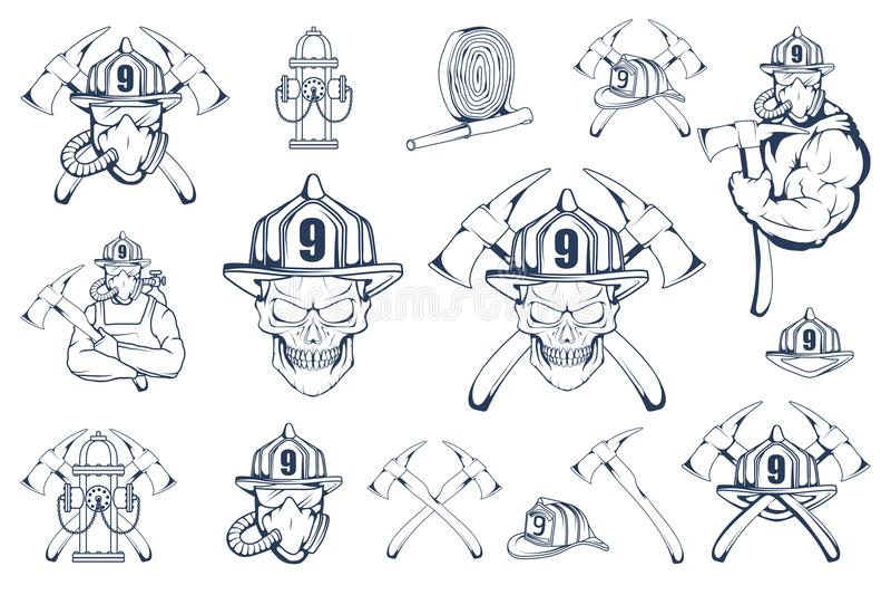 套消防队员象征和元素 消火商标 在面具的消防员` s头 消防队标签 向量例证