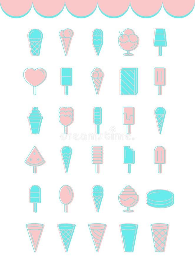 套淡色蓝色和桃红色颜色平的冰淇凌象  向量例证