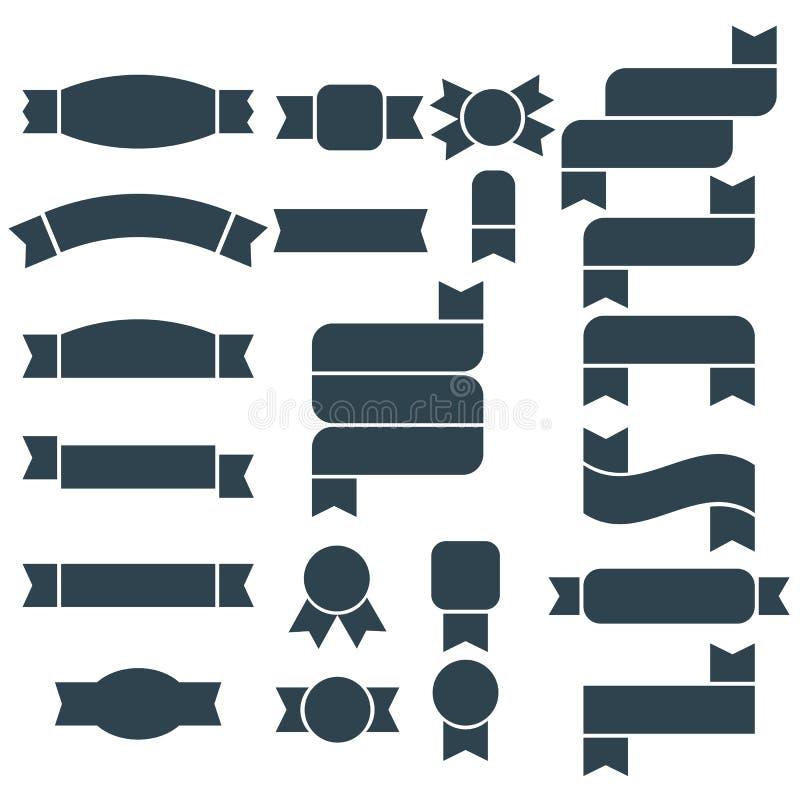 套深蓝剪影丝带、横幅和象征象 库存例证