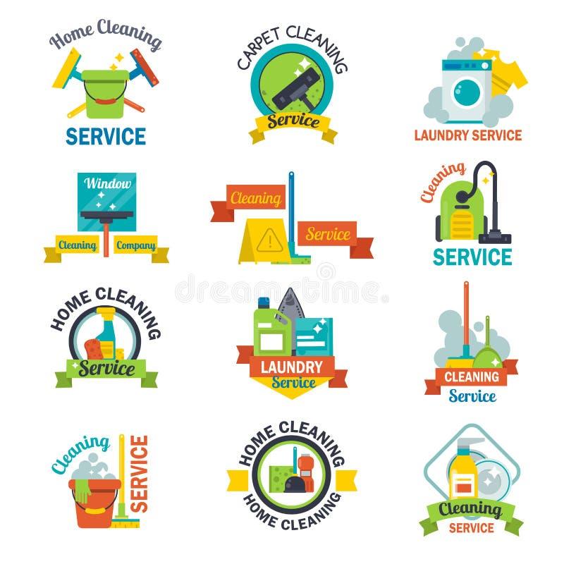 套清洁服务象征标签设计家家庭标志工作刷子传染媒介例证 库存例证
