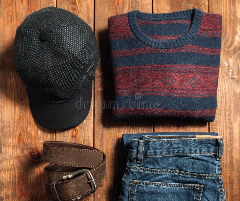套温暖的冬天男性布料 图库摄影