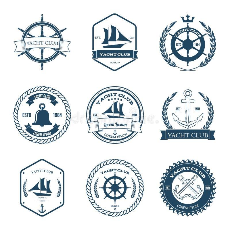 套游艇俱乐部标签设计元素传染媒介 向量例证