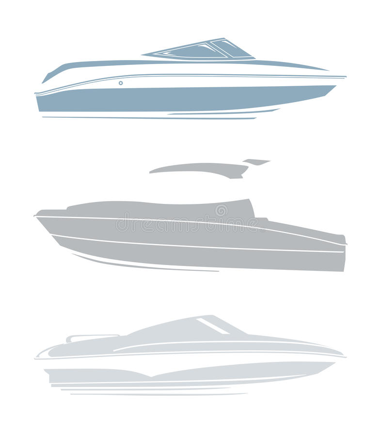 套游艇和小船的商标 库存例证