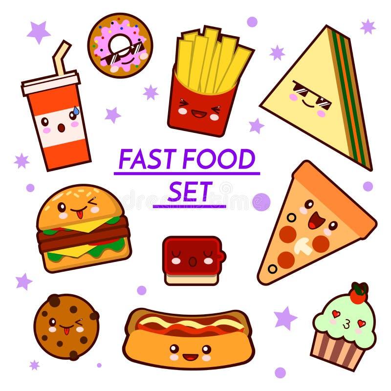 套滑稽的快餐字符-薄饼,炸薯条,汉堡,热狗,三明治,动画片被隔绝的传染媒介例证 库存例证